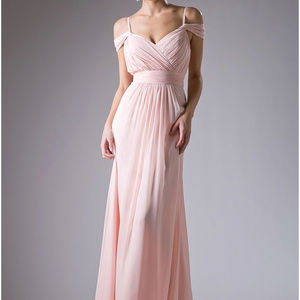 Peach Spaghetti Straps Prom Long Dress